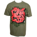 Ces Cru - Military Green Graffiti Wall T-Shirt - 3-XL