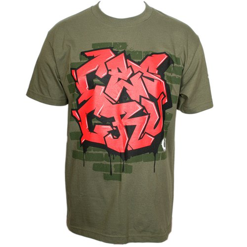 Ces Cru - Military Green Graffiti Wall T-Shirt