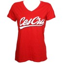 Ces Cru - Red Sports Swipe Ladies V-Neck T-Shirt - Ladies Large