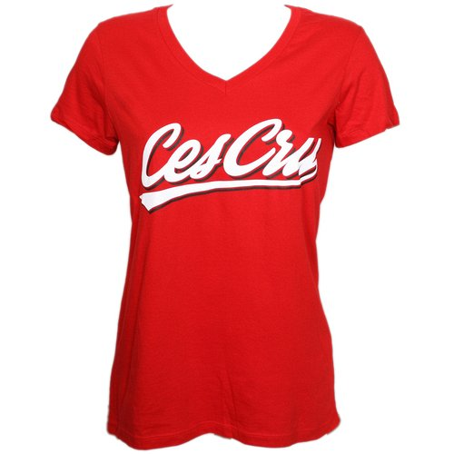 Ces Cru - Red Sports Swipe Ladies V-Neck T-Shirt