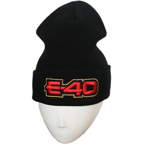 E-40 - Black Embroidered Folded Skull Cap