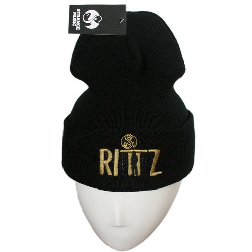 Rittz - Black w/ Gold Embroidered Folded Skull Cap #2