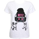 Rittz - White Headphones Ladies T-Shirt