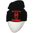 Stevie Stone - Black w/ Red Embroidered Folded Skull Cap