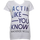 Mackenzie Nicole - White Actin Like You Know Ladies V-Neck T-Shirt - Ladies X Large