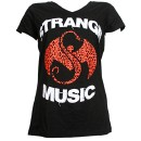 Strange Music - Black Inset Ladies V-Neck T-Shirt - Ladies Large