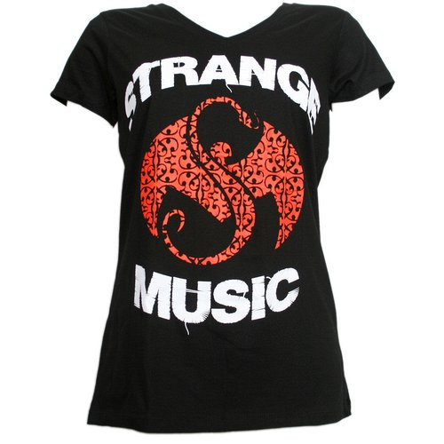 Strange Music - Black Inset Ladies V-Neck T-Shirt