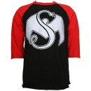 Strange Music - Black /Red Bold Raglan T-Shirt - Large