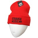 Strange Music - Red Stencil Embroidered Folded Skull Cap