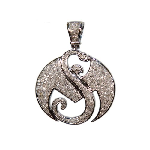 "1 1/2"" White Gold Strange Music Pendant w/1.4 CWT Diamonds"