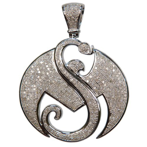 "2"" White Gold Strange Music Pendant w/2.7 CWT Diamonds"