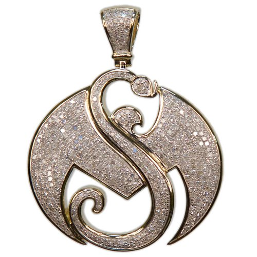 "2"" Yellow Gold Strange Music Pendant w/2.7 CWT Diamonds"