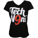 Tech N9ne - Black Scripty Ladies V-Neck T-Shirt - Ladies Small