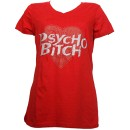 Tech N9ne - Red Psycho Heart Ladies V-Neck T-Shirt - Ladies Small