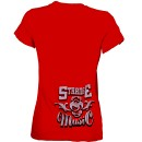 Stevie Stone - Ladies Red Silver Mic T-Shirt